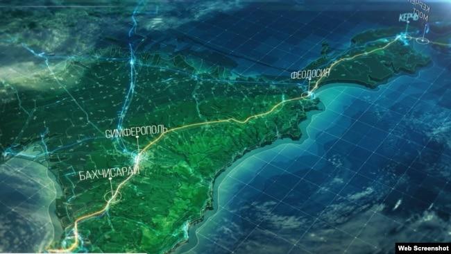 Изображение трассы «Таврида» на карте Крыма