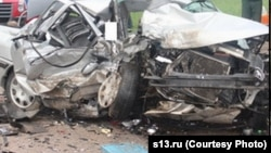 Belarus - Car crash incident with two death near Hrodna, collage, 31May2013