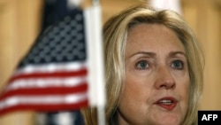 U.S. Secretary of State Hillary Clinton speaking at a joint press conference in Islamabad.