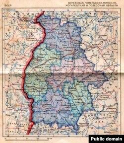 БССР. Карта БССР першай паловы 1939 году