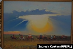 Одна из картин, выставленных на алматинском Арбате.