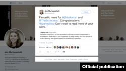 Журналист Джоанна Лиллистің Twitter парақшасының скриншоты.