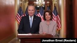 Nancy Pelosi, lidera Camerei Reprezentanților și Chuck Schumer, liderul minorități democrate din Senat , Washington 8 ianuarie 2019