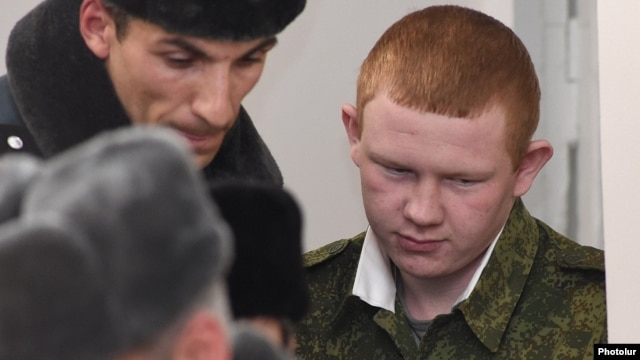 Valery Permyakov in court in Gyumri on January 18