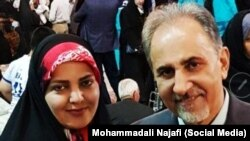 Mitra Ostad (left) was the second wife of former Tehran Mayor Mohammad Ali Najafi (right).