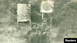 Monique Macias (left) with an official from the Mangyongdae Revolutionary School after shooting practice near Pyongyang in 1985.