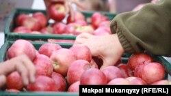Продажа яблок на ярмарке в День города. Алматы, 21 сентября 2014 года.