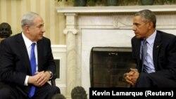 АҚШ президенті Барак Обама Израиль премьер-министрі Беньямин Нетаньяхумен кездесіп отыр. Вашингтон, 9 қараша 2015 жыл.