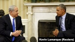 Президент США Барак Обама (справа) и премьер-министр Израиля Биньямин Нетаньяху. Вашингтон, 9 ноября 2015 года.