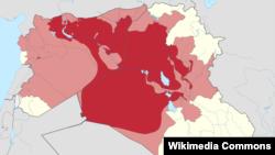 نقشه عراق و سوریه. قرمز پررنگ: در کنترل داعش. قرمز روشن: در برنامه داعش برای تصرف.