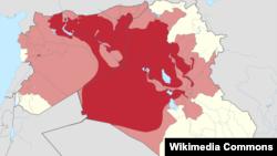 Территории в Ираке и Сирии, контролируемые Исламским государством Ирака и Леванта