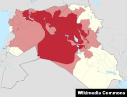 Районы Ирака и Сирии, контролируемые группировкой ИГИЛ (красный цвет), и заявленные как территория халифата (розовый)