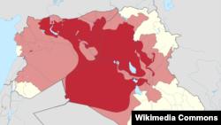 Районы Ирака и Сирии, контролируемые группировкой ИГИЛ (красный цвет), и заявленные как территория халифата (розовый).