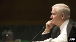 U.S. Defense Secretary Robert Gates testifies before the Senate Armed Services Committee.