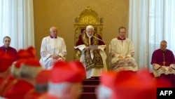 Vatican -- Pope Benedict XVI addresses an ordinary consistory at The Vatican, 11Feb2013