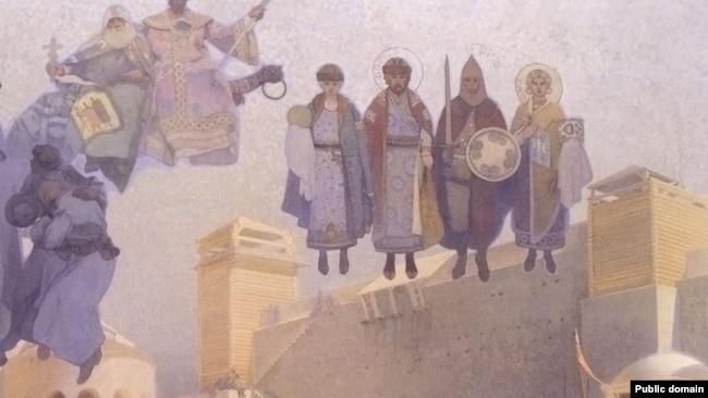 """Фрагмент от картината """"Въвеждане на славянската литургия във Великоморавия"""" (1912 г.), който изобразява българския княз Борис и руския княз Игор."""