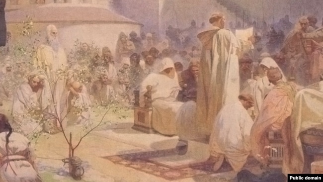 """Фрагмент от """"Въвеждане на славянската литургия във Великоморавия"""" (1912 г.). Изправената фигура зад дръвчето е на Методий."""