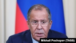 RUSSIA -- Russian Foreign Minister Sergei Lavrov speaks at a press conference following a meeting with Bolivia Foreign Minister in Moscow, Agust 16, 2017