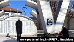 Kolinda Grabar-Kitarović ispred spomen-obilježja u Ahmićima i Križančevom Selu