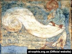 Кирилівська церква, «Ангел, що згортає небо», фреска ХІІ століття