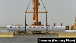A ceremonial section of Southern Gas Corridor in Baku, Azerbaijan