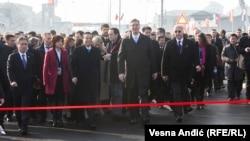 Aleksandar Vučić i premijer Kine Li Kećang na ceremonijalnom otvaranju Pupinovog mosta