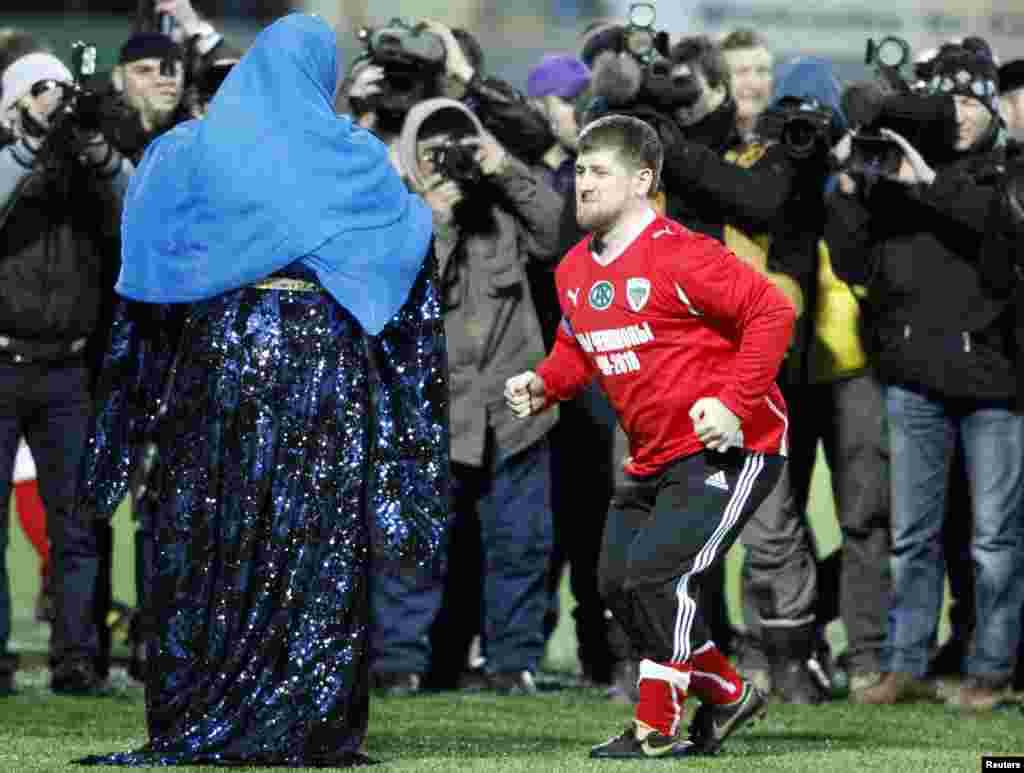 Kadyrov even performed Chechnya's Lezginka national dance at halftime during a high-profile friendly soccer match between the Chechen national team and five-time world champions Brazil in Grozny last year.