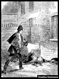 Рисунок из газеты The Pictorial News. 6 октября 1888 года. Обнаружение трупа Кэтрин Эддоуз, рядом с которым был будто бы найден платок с пятнами крови и спермы