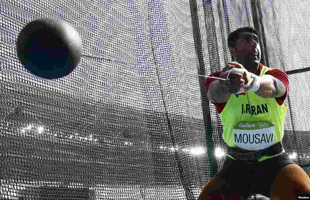 Seyed Mohammad Mousavi Eraghi of Iran competes in the men's hammer-throw qualifying round.