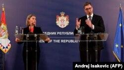 Սերբիայի նախագահ Ալեքսանդր Վուչիչ և ԵՄ բարձր ներկայացուցիչ Ֆեդերիկա Մոգերինի, արխիվ