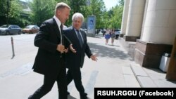 Russia -- Minister of education of Russia Dmitry Livanov, rector of the RSUH Yefim Pivovar