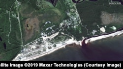 A satellite photo taken of the Nyonoksa Naval Weapons Range on August 12. (Satellite image ©2019 Maxar Technologies)