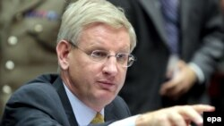 Belgium -- Swedish Foreign Minister Carl Bildt , the President of the European council during the General affairs council in Brussels, 17Nov2009