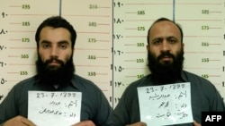 A combo photo shows two Taliban prisoners, Anas Haqqani (left) and Hafiz Rashid, who were released in November 2019.