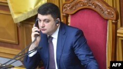 Ukrainian parliament speaker Volodymyr Hroysman attends the parliament session in Kyiv on March 29.