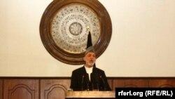 Hamid Karzai gjatë fjalimit të tij lamtumirës