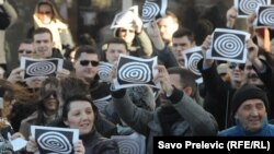 """Jedan od protesta zbog napada na novinarku """"Vijesti"""", Podgorica, 12. mart 2012."""