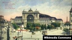 Восточный вокзал в Будапеште на почтовой открытке