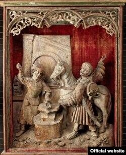 Altarul Miracolul potcovirii calului (Sf. Eligius), Suabia (Biberach an der Riß?), cca. 1520–30, (Liebieghaus Skulpturensammlung, Frankfurt am Main Photo: Liebieghaus Skulpturensammlung – ARTOTHEK)