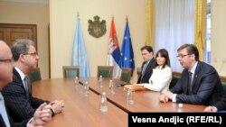 Premijer Aleksandar Vučić i glavni haški tužilac Serž Bramerc u Beogradu, 25. maja