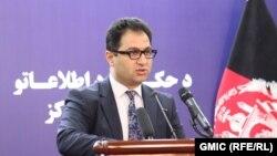 هارون چخانسوری سخنگوی ریاست جمهوری افغانستان حین کنفرانس خبری در کابل. 07 April 2019