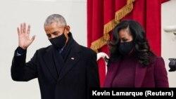 Барак и Мишель Обама на церемонии инаугурации.