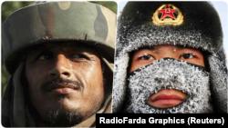 از راست: سرباز چینی و سرباز هندی