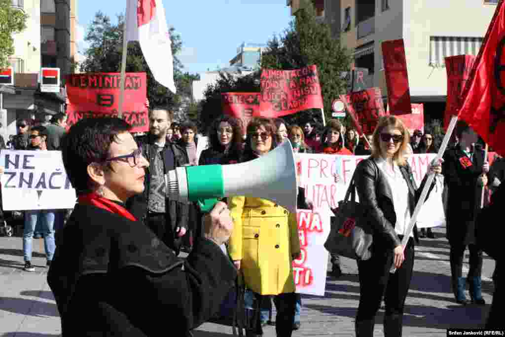A street protest in Podgorica, the capital of Montenegro