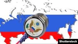 Мапа на Русија со илустрација за санкциите на САД врз земјата.