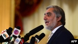 Кандидат в президенты Афганистана Абдулла Абдулла на пресс-конференции в Кабуле. 22 мая