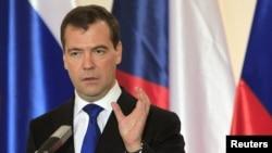 Ресей президенті Дмитрий Медведев Чехияға сапарында. Прага, 8 желтоқсан 2011 жыл.