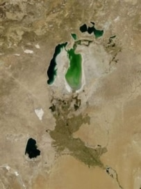 A satellite image of the shrinking Aral Sea (epa)