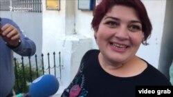 RFE/RL Journalist Khadija Ismayilova, moments after her release from prison. Baku, Azerbaijan, May 25, 2016