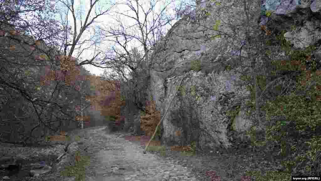 Дорога к Пчелиному проходит по берегу пересыхающей реки Молбай-Узень. Мощеный путь прижался к отвесным скалам с каньона